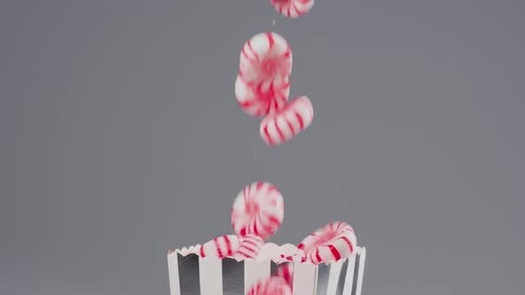 Peppermint candies falls in slow motion