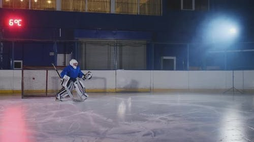 Hockey Player Conducts an Attack on the Opponent's Goal