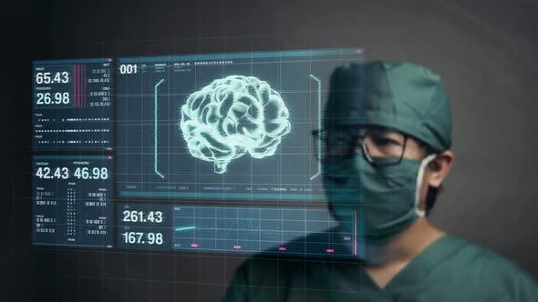 Surgeon Touching Screen for Accessing Brain Patient Data