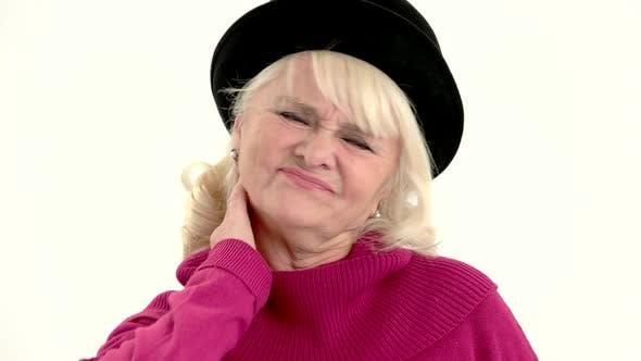 Senior Lady Has Neck Ache