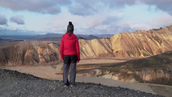 Thumbnail for A Girl Looks at the Beautiful Landscape Landmannalaugar Nature l
