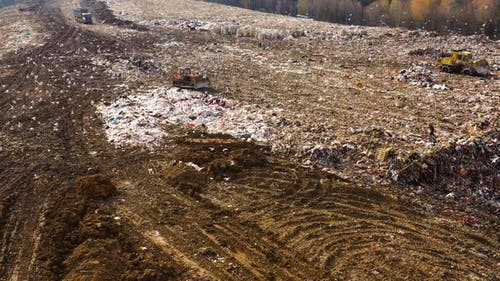 Household Waste Landfill, Aerial View.