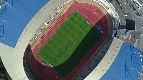 Aerial Top View of City Football Soccer Stadium