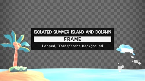 Isolated Summer Island and Dolphin Frame