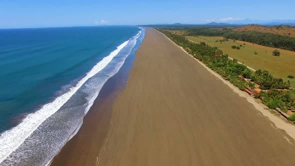 Thumbnail for Tropical infinite sandy beach aerial drone view