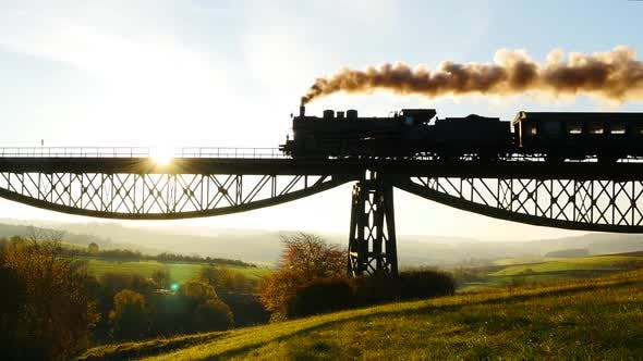 Thumbnail for Historical Steam Engine Train Riding on Railroad