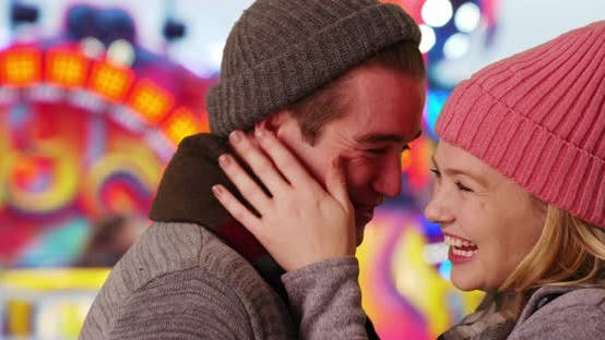 Thumbnail for Close up of attractive Caucasian couple on fun date at the county fair