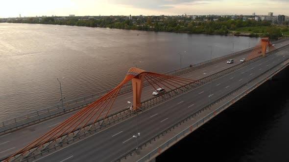 Parallax Down Aerial Shot of Bridge with Traffic
