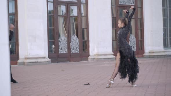 Thumbnail for Wide Shot of Professional Dancers Dancing Paso Doble in Urban City