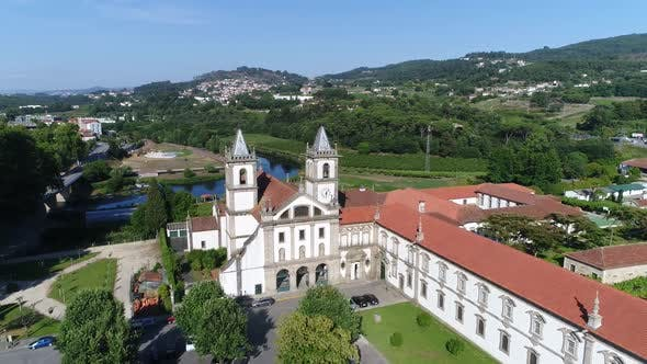 Thumbnail for Flight Antique Portugal Monastery Near Beautiful River