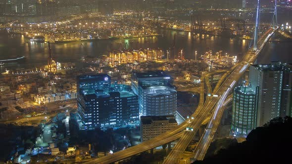 Thumbnail for Hong Kong Port Terminal Night Time Lapse China. Zoom Out