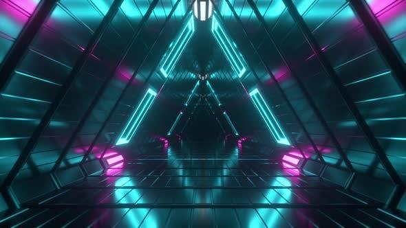 Abstract Endless Flight in a Futuristic Metal Corridor