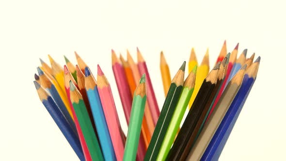 Thumbnail for Colour Pencils Isolated on White, Rotation