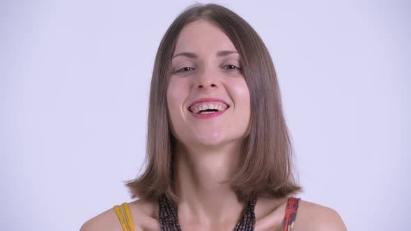 Thumbnail for Face of Happy Young Beautiful Hipster Woman Smiling and Laughing