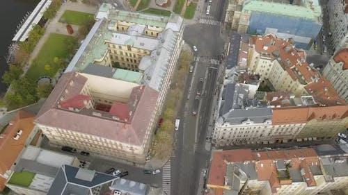 Aerial Birds Eye View of Prague City Center