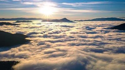 Magic Sunrise Above Foggy Clouds Nature