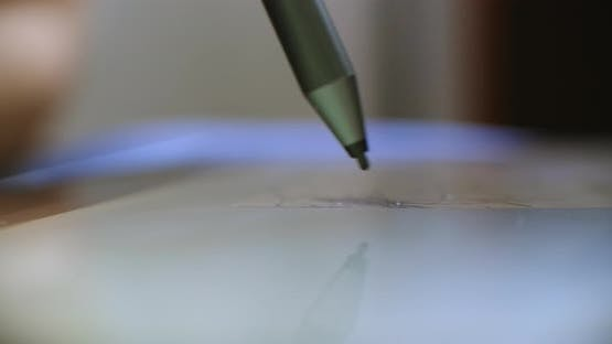 Using a Digital Pencil with Graphic tablet,Close-up