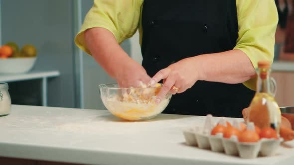 Chef Mixing Bread Ingredients