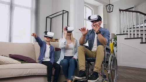 Likable Confident Smart Modern Family which Applying Virtual Reality Headset