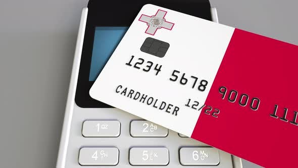 Thumbnail for Plastic Bank Card with Flag of Malta and Payment Terminal