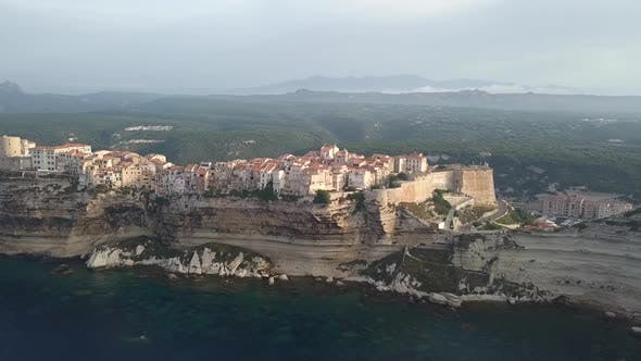 Thumbnail for Wide Aerial Establishing Shot Of Old Town Bonifacio In Corse