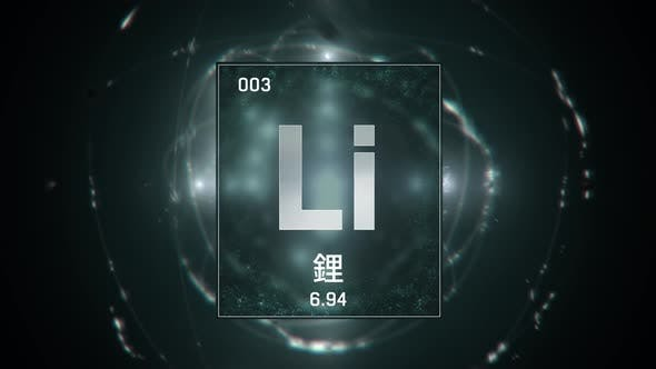 Thumbnail for Lithium as Element 3 of the Periodic Table on Green Background in Chinese Language