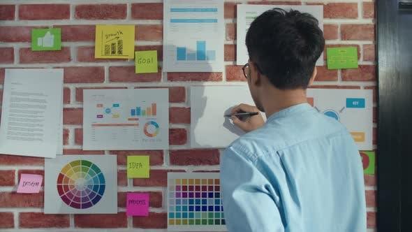 Asian creative man drawing work plan on paper board.