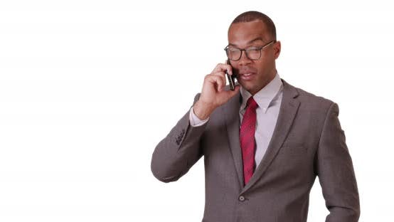Thumbnail for A black man uses his phone for business