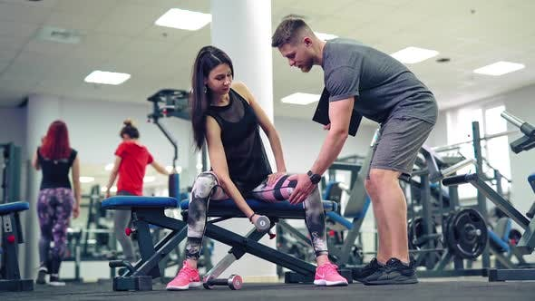 Young and beautiful woman working out with dumbbells in gym. Concept of a healthy lifestyle.