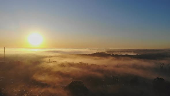 Landscape with Fog in the Morning at the Lake, Majestic Sunrise or Sunset in the Landscape
