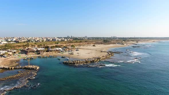 Thumbnail for Aerial footage of the fishing bay at mediterranean sea