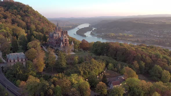 Thumbnail for Old Castle Overlooking the River Rhine in Germany in the Fall