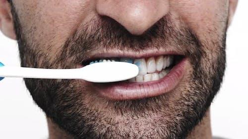 Close Up Teeth Brushing