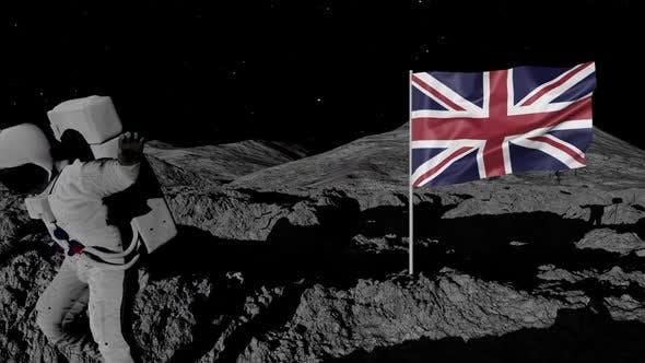 Astronaut Planting United Kingdom Flag on the Moon