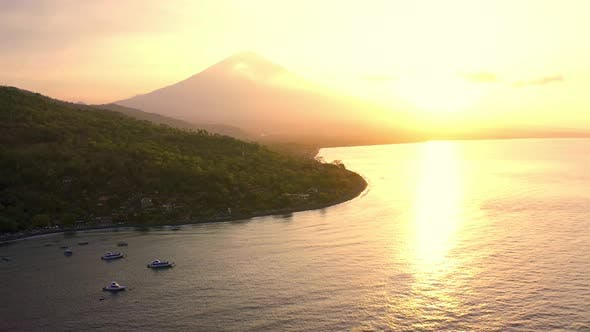 Thumbnail for Agung Volcano or Mount Agung at Amed Beach in Bali ,Indonesia. Beautiful Sunset with Small Fog on