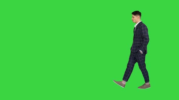 Thumbnail for The Man in Formal Outfit Walking in Counting Money on a Green Screen, Chroma Key