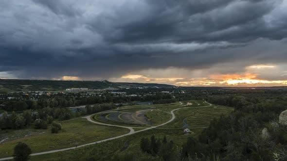 Thumbnail for Stormy Sunset at Calgary Park  Timelapse