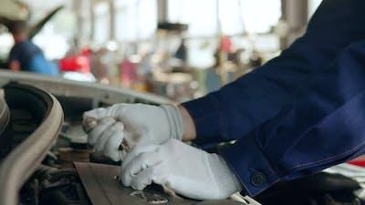 Auto Mechanic Repairing Engine in Auto Repair Shop