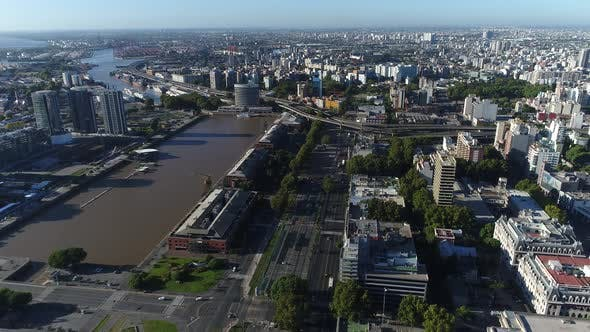 Thumbnail for Panoramic Aerial Drone View of Buenos Aires - Argentina. Cityscape of Puerto Madero