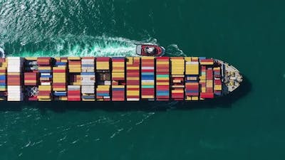Large Container Ship in Sea