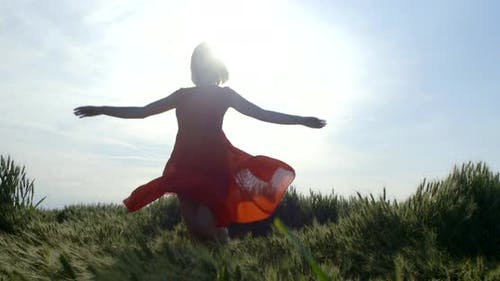 Woman in Long Dress Enjoys Life Spinning Around in Field
