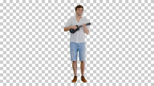 Thumbnail for Italian man playing a toy guitar, Alpha Channel