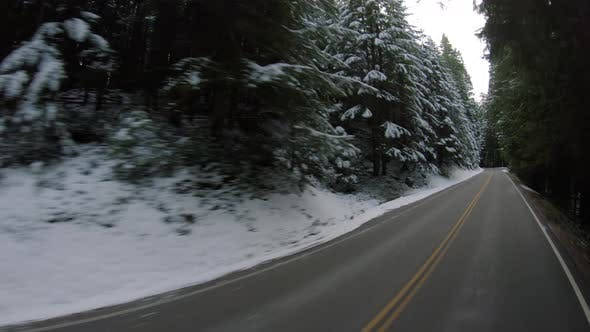 Driving Rural Mountain Road With Fresh Winter Snow On Forest Trees