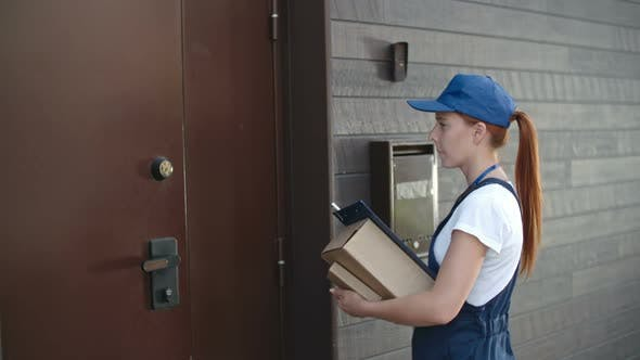 Thumbnail for Young Delivery Person Entering House with Parcels