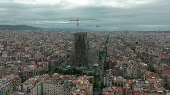 Thumbnail for Sagrada Familia Cathedral and Barcelona City Aerial View in Spain