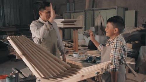Boys With Handmade Deck Chair