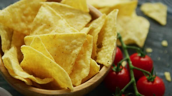 Thumbnail for Nachos Served with Dip Sauces