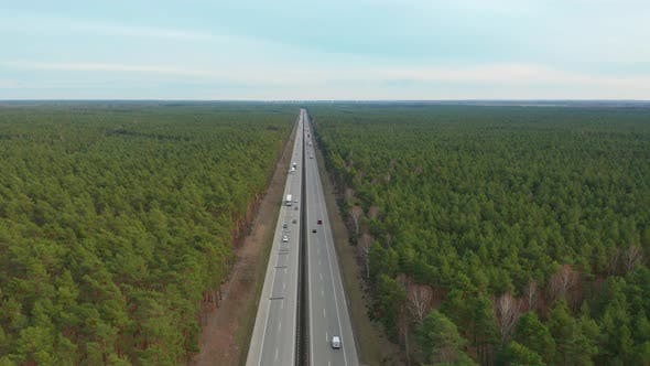 Thumbnail for Hyperlapse. Aerial View. Traffic on a Motorway, Germany