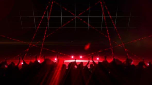 Animation von roten Scheinwerfern, die sich mit schwarzen Silhouetten von Menschenmengen bewegen