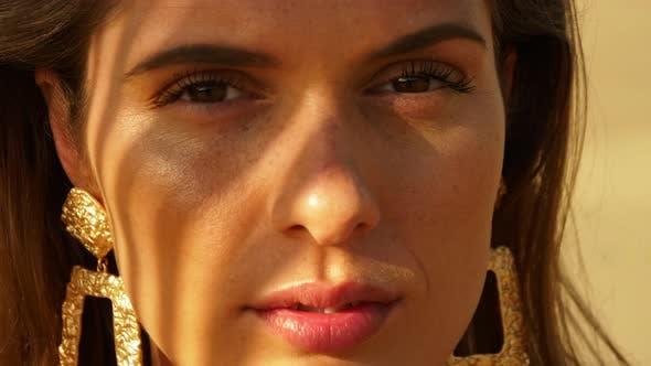 Full Closeup Shot of Freckled Beautiful Female Model